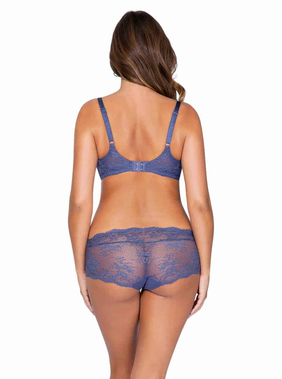 Sandrine P5352 UnlinedWire P5355 Hipster FrenchBlue back - Sandrine Unlined Wire Bra - French Blue - P5352