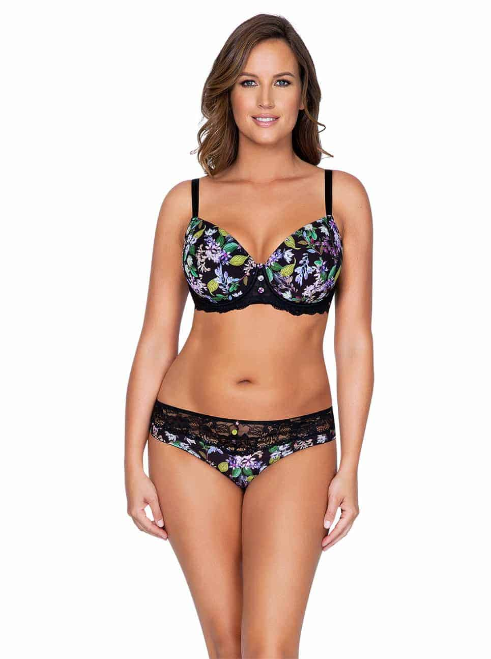 Ava P5371 PaddedBra P5373 BikiniFront 1 - Ava Bikini - Black Floral - P5373