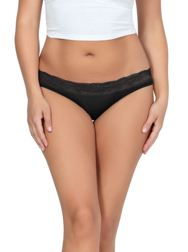 PARFAIT ParfaitPanty SoEssential BikiniPP303 Black Front close 600x805 - Parfait Panty So Essential Bikini- Black - PP303