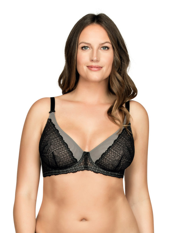 PARFAIT Vanna UnlinedWireBraP5702 BlackGray Front1 600x805 - Vanna Unlined Wire Bra Black w Gray P5702